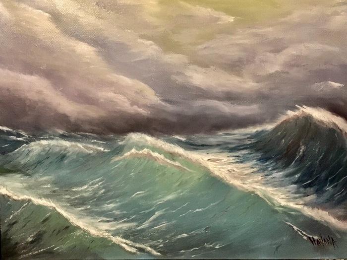 Шторм Море, Шторм, Лавкрафт, Говард Филлипс Лавкрафт, Масло, Картина маслом, Картина