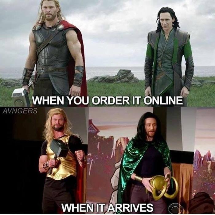 Онлайн покупки. Тор, Локи, Онлайн покупка, Ожидание и реальность