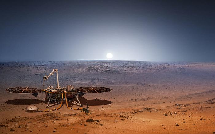 Завершился 205 дневный полёт на Марс. Аппарат InSight успешно приземлился на поверхность красной планеты в 22:55 по МСК. Космос, Космический аппарат, Insight