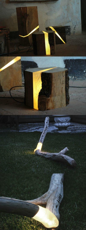 Светящиеся деревяхи Деревянное, Освещение, Декор, Фотография, Идея, Длиннопост