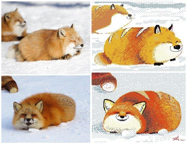 Sleepy loafoxes k-Eke, Keke, Лиса, Батон, Арт