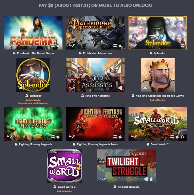 Humble Board Games bundle Humble Bundle, Steam, Google Play, Длиннопост