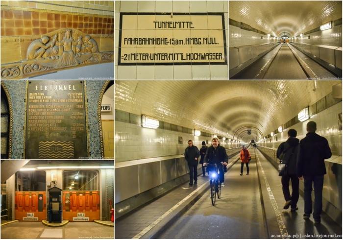 Как устроен старый тоннель под Эльбой в Гамбурге Германия, Гамбург, Длиннопост