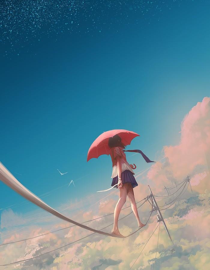 Гуляя Арт, Рисунок, Anime Art, Зонт, Девушки