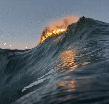 Море волнуется раз Океан, Волна, Закат, Красивое, Вода, Ryan Pernofski, Гифка