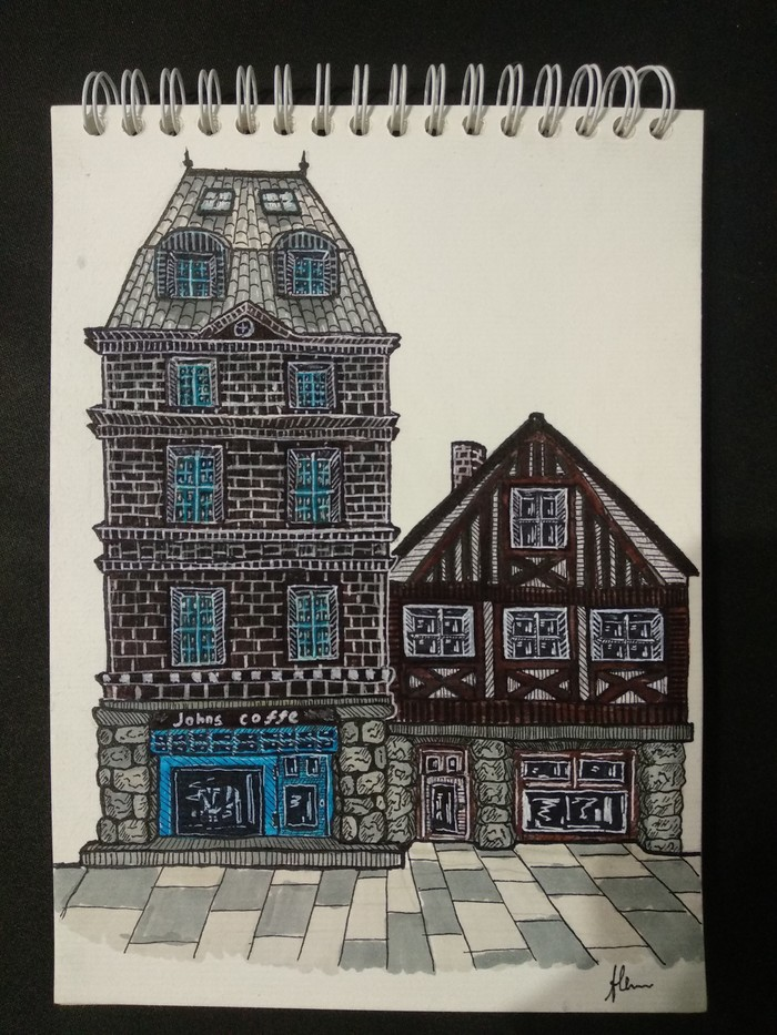 Мои попытки в архитектуру) Рисунок, Рисунок ручкой, Творчество, Длиннопост, Архитектура, Здание, Дом
