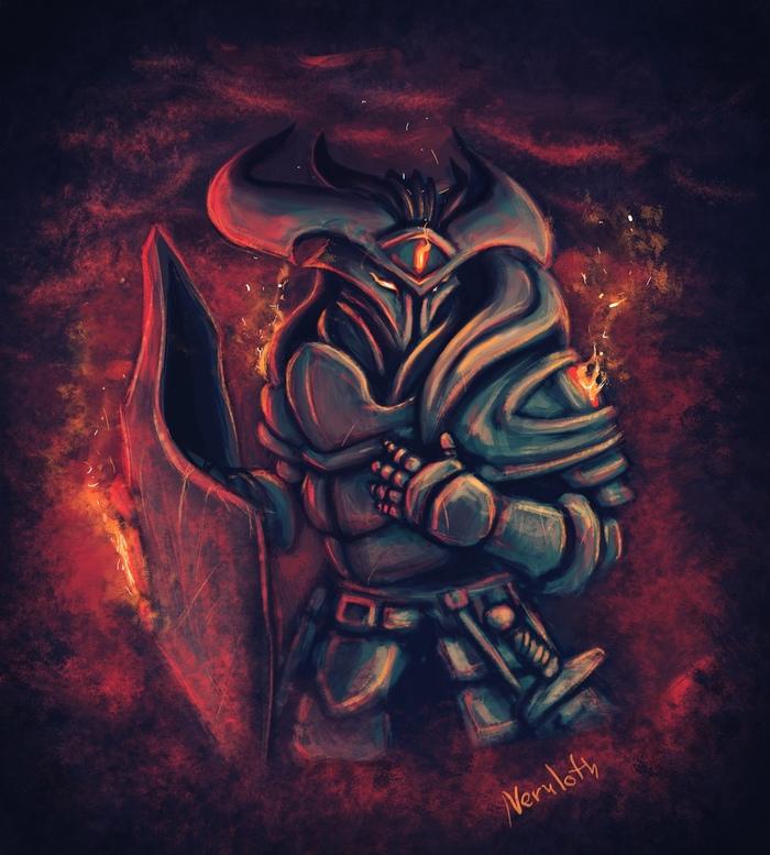 Мордекай [Dungeon and Dragons] Neruloth, DnD 5, Game Art, Арт, Тифлинг, Паладин, Длиннопост