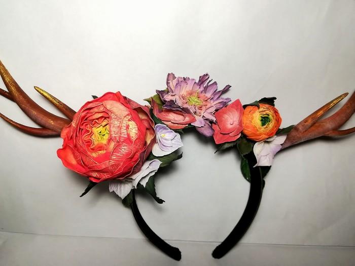 Ободок с цветами Аксессуары, Цветы из фоамирана, Фоамиран, Рога, Ручная работа, Цветы