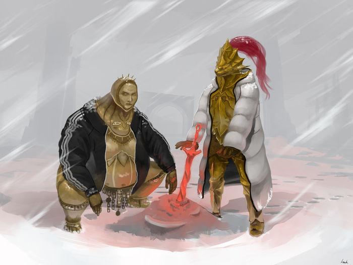 Longstein and slav Dark Souls, Игры, Арт, Смоуг, Dragon Slayer Ornstein, Chickhawk96
