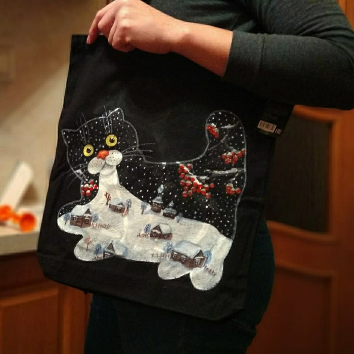 Роспись сумки и футболки котом) Кот, Зима, Роспись по ткани, Роспись, Футболка, Сумка