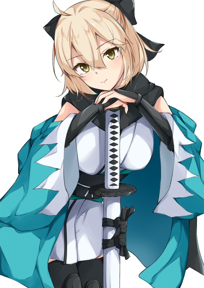 Souji Okita Fate grand Order, Souji okita, Anime Art, Девушка с тату, Катана