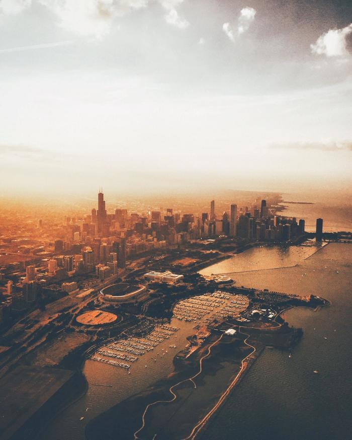Пролетая над Чикаго Фотография, Чикаго, Вид из самолёта, Reddit