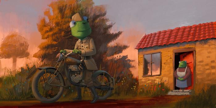 Прощание Арт, Рисунок, Ящерица, Военные, Прощание, Фантазия, Мотоциклы