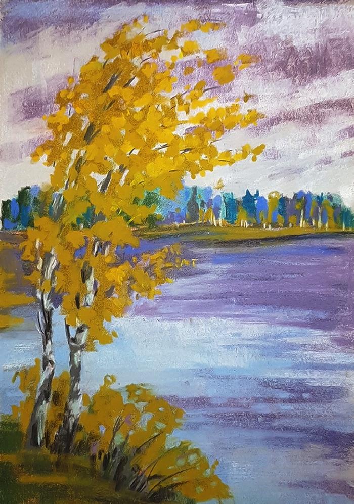Похолодало Рисунок, Пастель, Осень, Березы, Дерево, Вода, Водоем