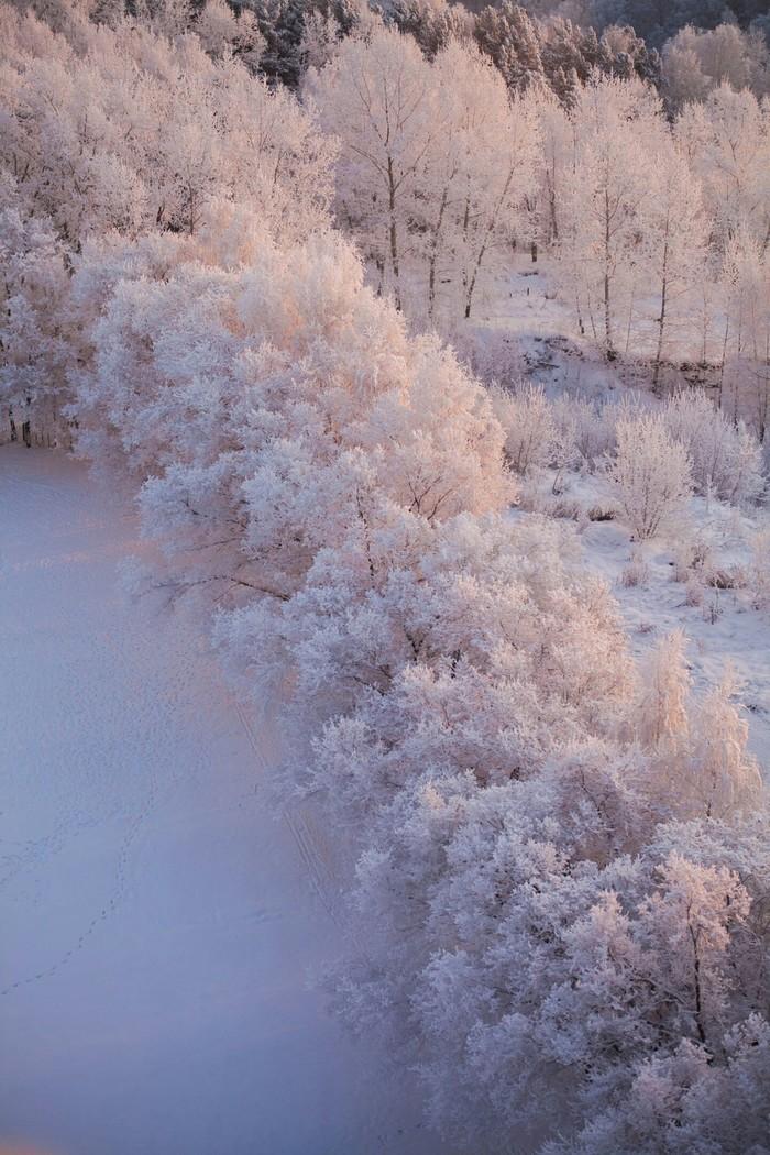 Морозный рассвет в Новосибирске