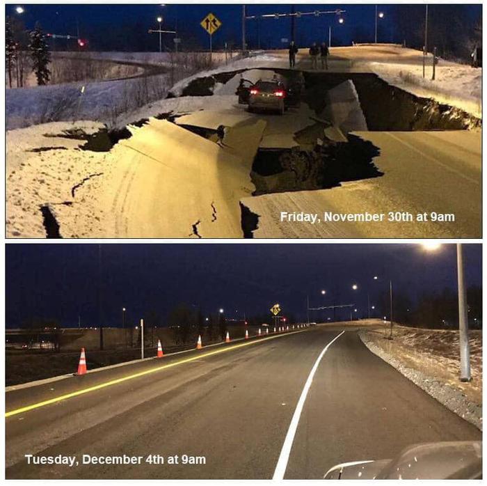 4 дня после землетрясения Аляска, Землетрясение, Ремонт дорог, Желтый ромб, Дорожные работы, Дорога
