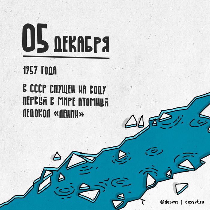 (005/366) 05 декабря 1957 года Ленин спущен на воду ПроектКалендарь2, Ленин, Ледокол, Атомный ледокол, Первый, Судно, СССР