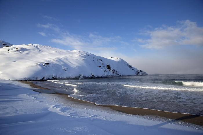 Зимнее побережье Баренцева моря Север, Заполярье, Баренцево море, Длиннопост