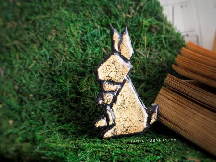 Оригами-броши из полимерной глины. Кролик,бабочка, птичка, лисик и брелок черепаха. Полимерная глина, Оригами, Рукоделие без процесса, Черепаха, Кролик, Длиннопост