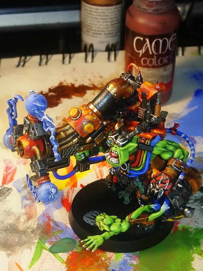 Страсти Грота. Большой мек с шоковой пушкой Orkz, Orks, Ork, Wh40к, Miniatures, Длиннопост