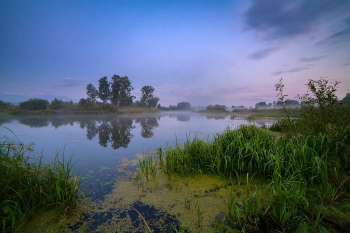 Утром перед рассветом Река Миасс, Южный Урал, Пейзаж, Лето, Челябинская область, Длиннопост