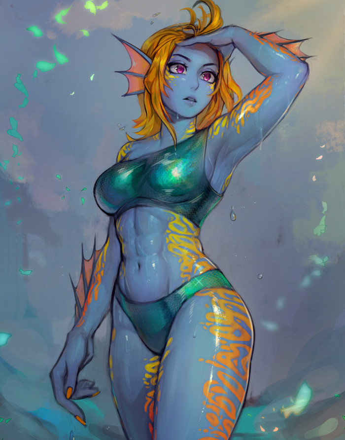 Fish Girl Matilda Fiship, Арт, Крепкая девушка, Monster Girl, Фитоняшка, Фэнтези