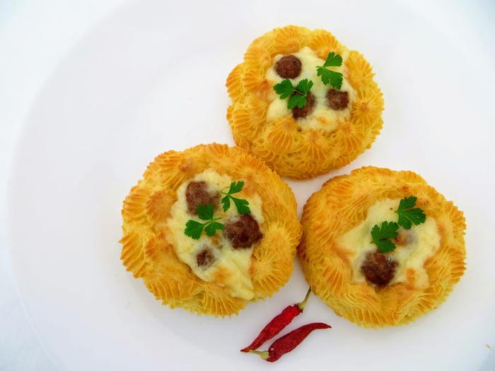 Картофельные гнезда с начинкой Вкусно, Просто, Готовка, Рецепт, Картофельные гнезда, Другая кухня, Видео рецепт, Длиннопост, Еда, Видео