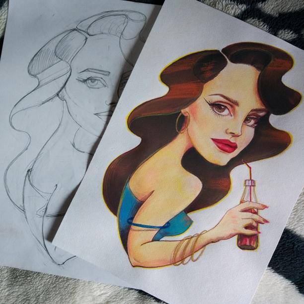 Шарж на певицу Лану Дель Рей Шарж, Lana Del Rey, Длиннопост