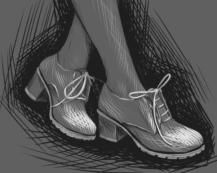 Пара женских ножек Девушки, Ножки, Туфли, Рисунок, Набросок, Ноги, Цифровой рисунок