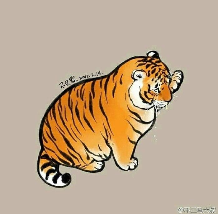 Тигрррр) Животные, Рисунок, Кот, Тигр, Милота, Толстый, Длиннопост