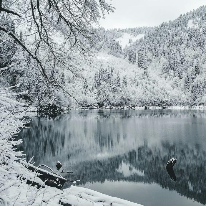 Времена года - озеро Малая Рица, Абхазия Зима, Весна, Лето, Осень, Озеро, Красота, Фотография, Природа, Длиннопост