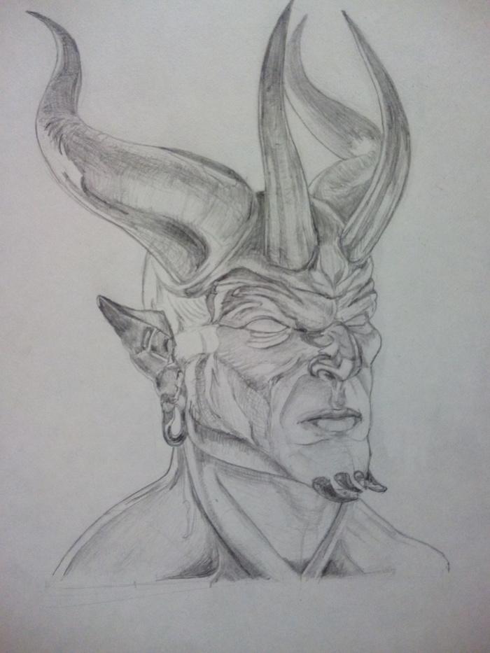 Демон Рисунок карандашом, Учусь рисовать, Демон, WOW