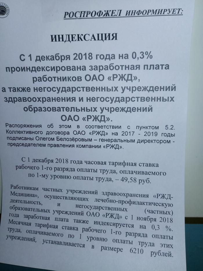 По поводу увеличения зарплаты Зарплата, РЖД
