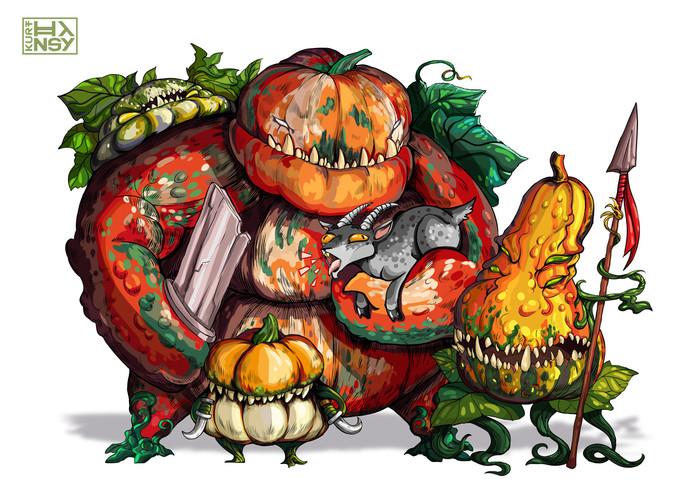Овощные банды Иллюстрации, Монстр, Овощи, Цифровой рисунок, Концепт-Арт, Длиннопост, Рисунок, Персонажи