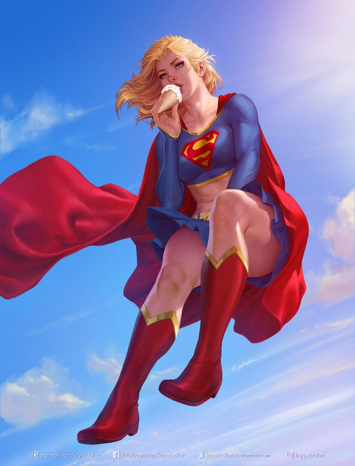 Supergirl Art Арт, Krysdecker, DC, Супергерл, Супергерои, DC Comics