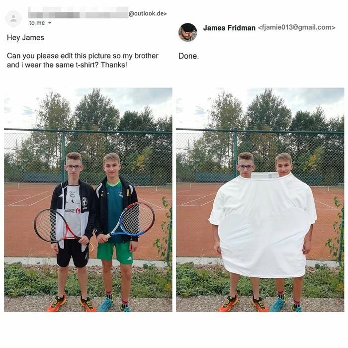 Привет, Джеймс! Можешь отредактировать эту фотографию так, чтобы мы с братом носили одну и ту же футболку? Спасибо! Джеймс Фридман, Фотошоп мастер, Футболка