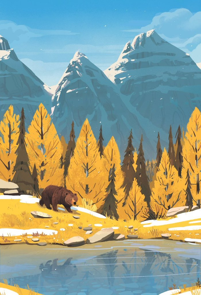 Природа Арт, Медведь, Kimdraws