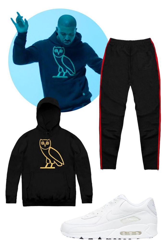 Помогите найти в инете одежду из клипа Drake, Hotline Bling, Сова, Pants, Hooded