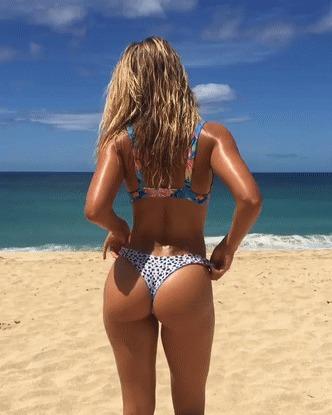 Пляжный пост Девушки, Бикини, Купальник, Пляж, Лето, Гифка, Длиннопост