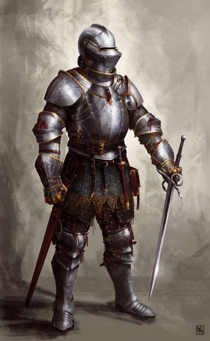 Сразимся? Рыцарь, Доспехи, Фэнтези, Средневековье, Арт, Рисунок, David Escribano Herrero