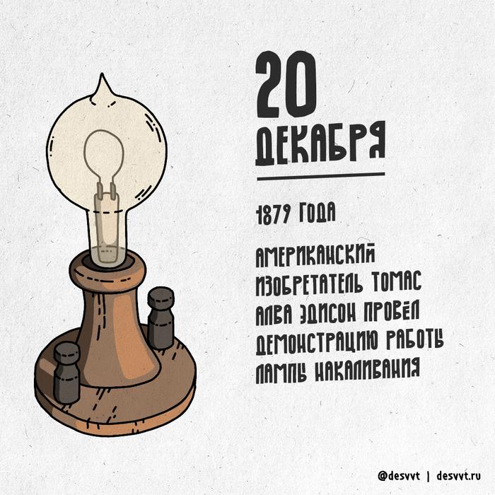 (020/366) 20 декабря Эдисон продемонстрировал свою лампу накаливания ПроектКалендарь2, Рисунок, Иллюстрации, Томас Эдисон, Лампа накаливания, Лампа Эдисона