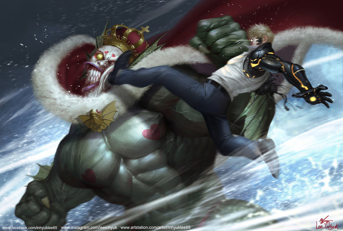 Deep sea king vs Genos Art Onepunchman, Аниме, Арт