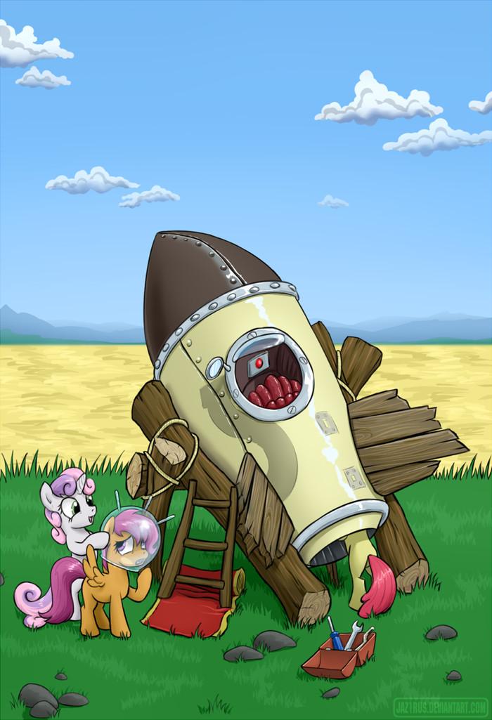 Ключ на старт! My Little Pony, Ракета, Applebloom, Sweetie Belle, Scootaloo, 1jaz