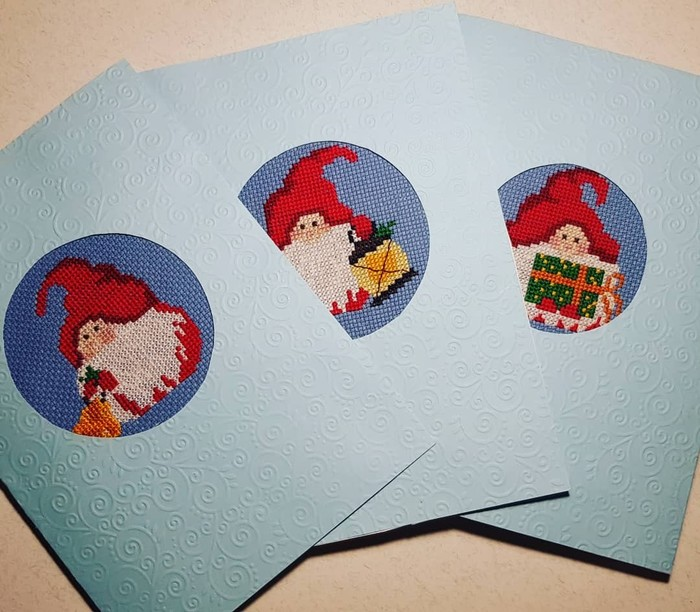 Гномики-открытки Вышивка крестом, Ручная работа, Своими руками, Открытка, Очень скоро Новый год, Длиннопост