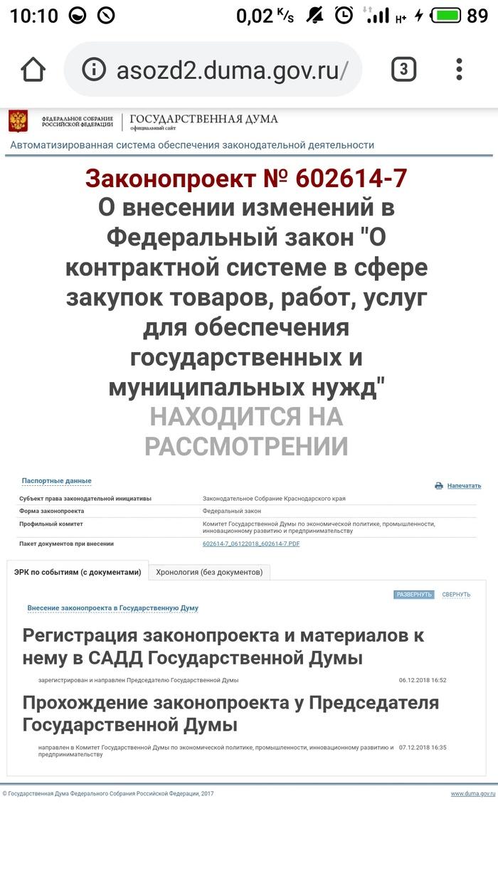 Законопроект #602614-7 Лига госзакупок, Законопроект, 44-Фз, Госдума, Надежда, Текст