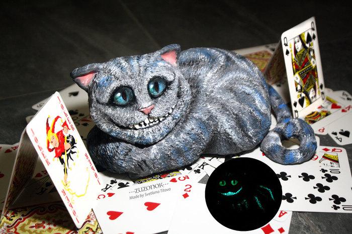 Чеширский кот, который светится в темноте Чеширский кот, Чешир, Полимерная глина, Творчество, Своими руками, Пятничный тег моё, Cheshire Cat, Длиннопост