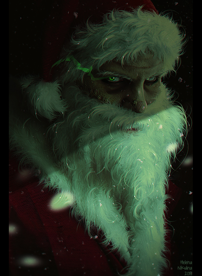 Santa is coming... Арт, Елена Никулина, Плохой Санта, Борода, Зеленые глаза, Темное фэнтези, Снег, Рождество