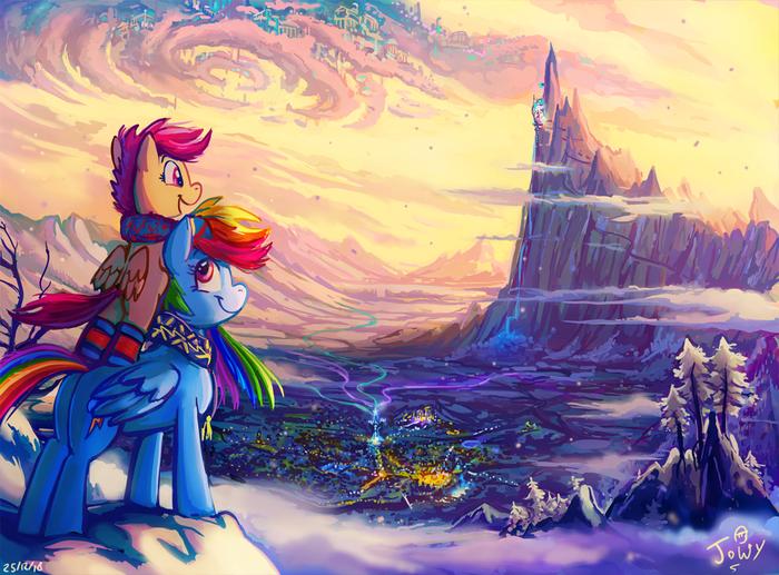 Cozy My Little Pony, Ponyart, Rainbow Dash, Scootaloo, Jowybean