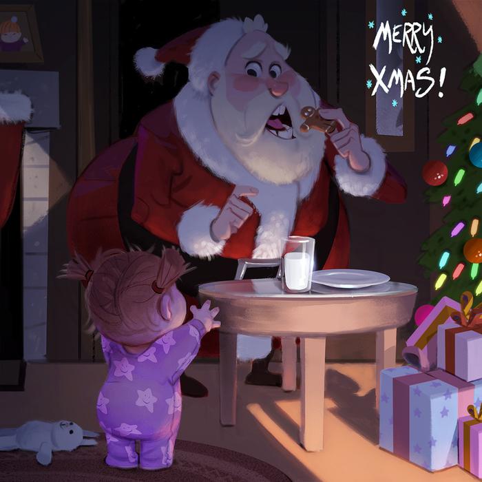 Любитель печенек Печенье, Рисунок, Арт, Санта-Клаус, Рождество