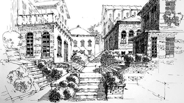 Старинный город пером и тушью. Рисование, Ландшафтный дизайн, Набросок, Италия, Арт, Город, Уроки скетчинга, Видео, Тушь, Длиннопост